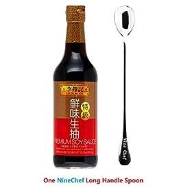 Lee Kum Kee Premium Soy Sauce, 16.9-Ounce + One NineChef Spoon (1 Bottle)