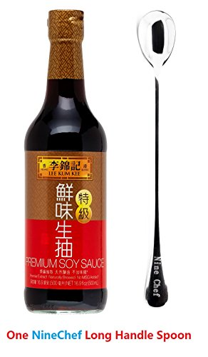 Lee Kum Kee Chili Garlic Sauce - Lee Kum Kee Premium Soy Sauce, 16.9-Ounce + One NineChef Spoon (1 Bottle)
