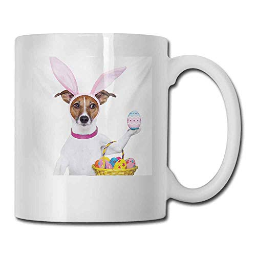 Coffee Cup Easter Dog Dressed up as Easter Bunny Holding a Basket of Eggs Funny Animal Illustration Cocoa 11 oz Multicolor]()
