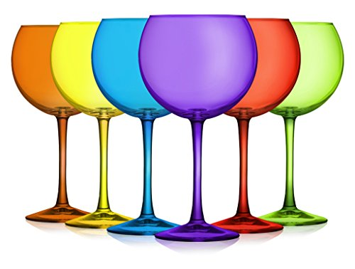 Balloon Wine Glasses- Party Colors Set of (Balloons Design Wine Glass)