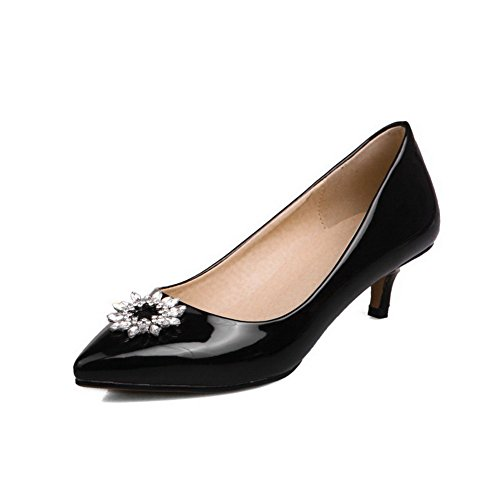 Odomolor Women's Pull-On Kitten-Heels Solid Pointed-Toe Pumps-Shoes, Black, 40