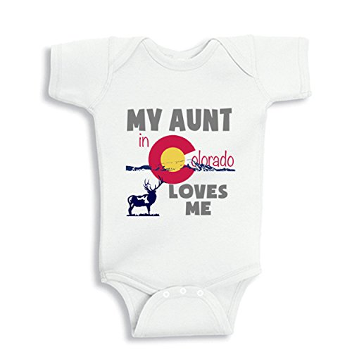 NanyCrafts Baby's My Aunt in Colorado Loves me baby Bodysuit 6M White