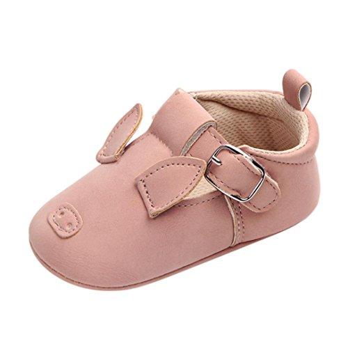 Prevently Baby Kleinkind Schuhe Rutschfeste der Babykarikatur Weiche Unterseite Neugeborenes Baby Kinder Mädchen Jungen Cartoon Anti-Rutsch-Soft Schuhe Sneaker Rosa