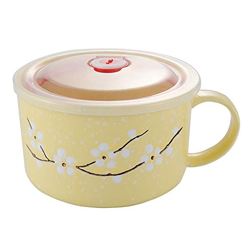 (Asian Noodle Soup Bowl with Lid, Japanese Style Microwavable Ceramic Noodle/Soup Bowls Lid with and Handles (Yellow))