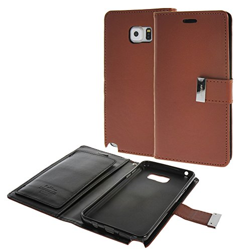 MEIRISHUN Caja del Teléfono Celular Caso Funda ,estilo en folio Protector Case Funda,Lujo PU Cuero Folio Billetera Caso Flip Cubrir with Metal Buckle & ranuras para tarjetas para Samsung Galaxy Note 5 Marrón