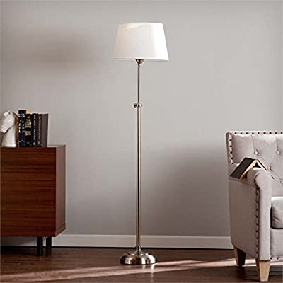 Southern Enterprises Drummand Floor Lamp - Sleek, modern indoor floor lamp with telescoping adjustable height Max 150 W 3-way incandescent or 26 W CFL | Type A E26 Bulb base size | Light bulb not included | Includes GU24 adapter Transitional inspired floor lamp with stainless steel finish and crisp white shade - living-room-decor, living-room, floor-lamps - 418WGgObbcL. SS400  -
