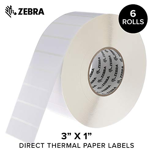 Zebra - 3 x 1 in Direct Thermal Paper Labels, Z-Perform 2000D Permanent Adhesive Shipping Labels, Zebra Industrial Printer Compatible, 3 in Core - 6 Rolls (Adhesive Paper Printer)