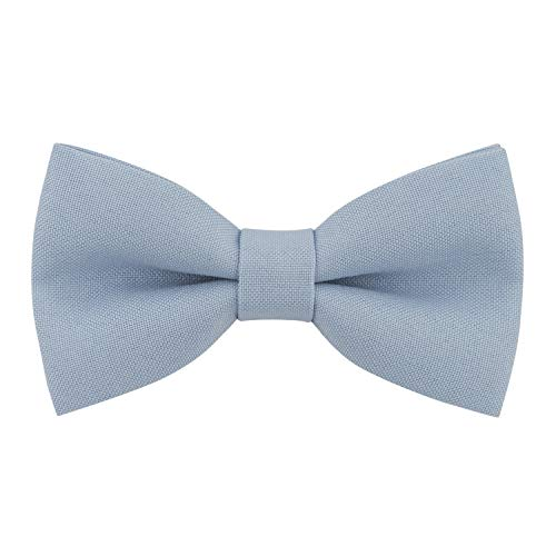 Classic Pre-Tied Bow Tie Formal Solid Tuxedo, by Bow Tie House (Large, Pastel Blue)