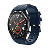 Aurorax 1 Smart Watch Soft Sports Replacement Silicone Watch Band Wrist Strap for Huawei Watch GT Athletic Smart Watch 22mm (Dark Blue)