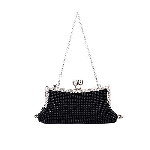 Vuffuw Crystal Clutch, Dokfin Luxury Beaded Rhinestone Evening Bag, Elegant and Classic Sparkly Purse with Removable Noble Chain for Wedding and Party