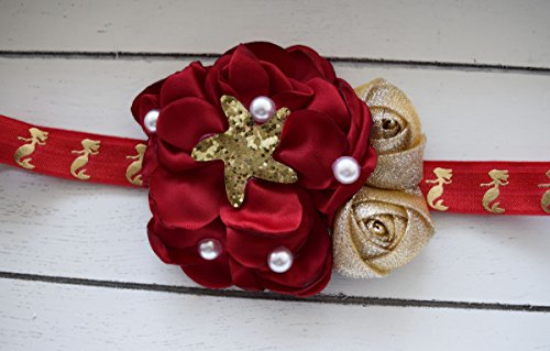 Hand Crafted Christmas Mermaid Headband - Red and Gold Headband - Starfish Headband - Valentines Headband - Mermaid Birthday - Christmas Bow