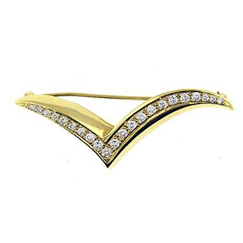 (0.75 Ct Yellow Gold Diamond Brooch Pin 18kt)