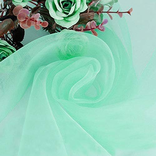 BITFLY 197 x 53 Inch Sheer Organza Swag DIY Fabric Wedding Top Table Event Party Home Decor Stair Bow Valance Table Skirt - (Mini Green, 1 Pack)