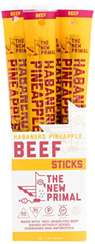 The New Primal Habanero Pineapple Beef Meat Stick, Paleo, Gluten & Soy Free, 100% Grass-Fed, Keto, No Added Sugar, 1oz, 20 Count