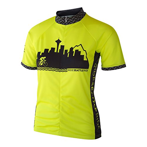 Ride Seattle Skyline Women's Cycling Jersey, Fluorescent Neon High Visibility Yellow, Relaxed Club Cut