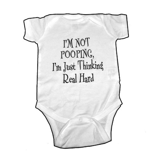 I'm Not Pooping Just Thinking Funny Cute Baby Creeper Romper