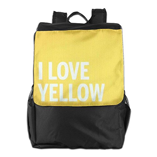 HSVCUY Personalized Outdoors Backpack,Travel/Camping/School-I Love Yellow Adjustable Shoulder Strap Storage Dayback For Women And Men
