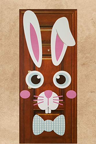 Jumbo Happy Easter Bunny Face Sign Door Wall Party Decoration Ears Bow Tie