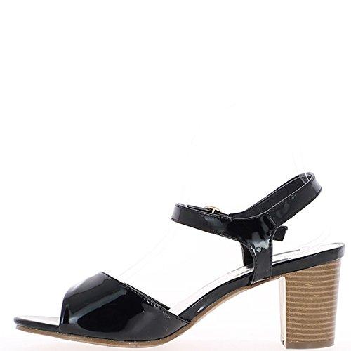 Sandálias Grande Pintado Do 8cm Pretas Salto RpqapdxUw