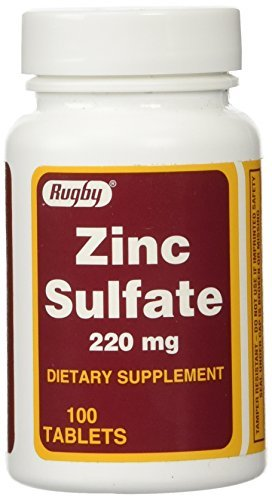 Zinc Sulfate 220 mg Dietary Supplement Tablets - 100 ea (Pack of 1) by RUGBY LABORATORIES ()