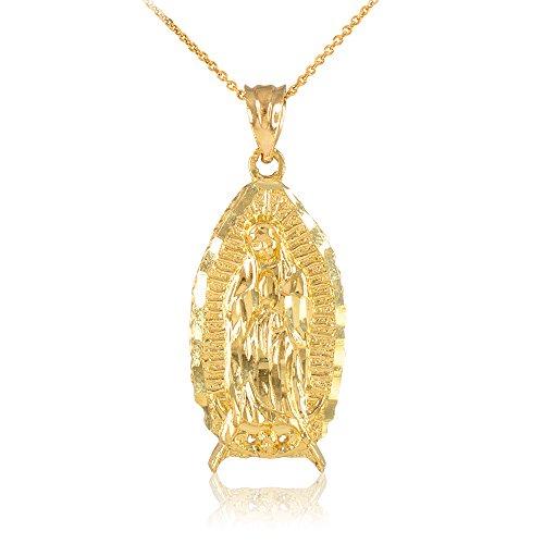 Collier Femme Pendentif 10 Ct Or Jaune Béni Notre Dame De Guadalupe (Livré avec une 45cm Chaîne)