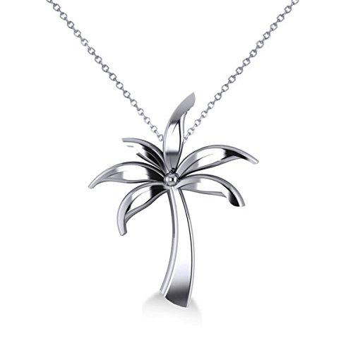 Allurez Summer Palm Tree Ladies Pendant Necklace in 14k White Gold by Allurez