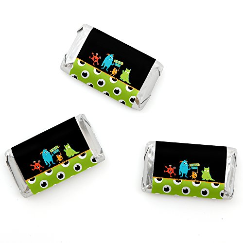 Big Dot of Happiness Monster Bash - Mini Candy Bar Wrappers Little Monster Birthday Party or Baby Shower Favors - 20 Count ()