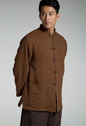 Katuo Chinese Traditional Men's Casual Shirt Blouse Meditation Outwear S-2XL (L, Coffee) by KATUO (Image #3)