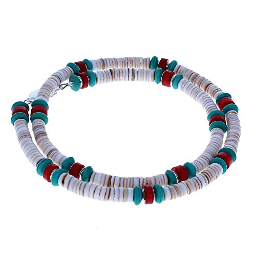 Timeless Treasures - Conus Shell Heishi , Turquoise, Coral Heishi & Sterling Silver Beaded Men's Necklace - 20