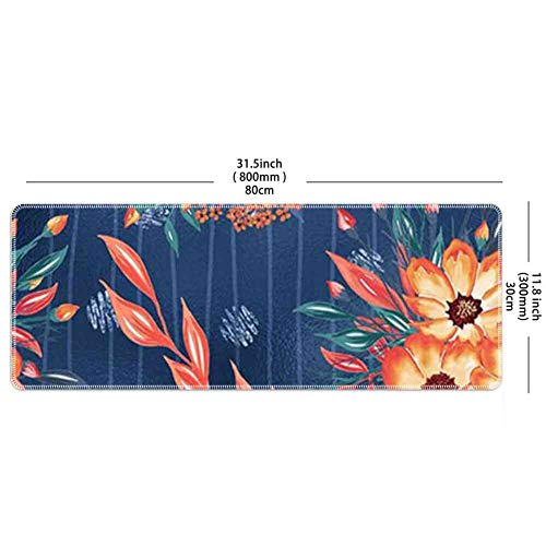 Mouse Pad Rectangle Mouse Pad Painted Flowers Wallpaper Prevalent 350mm280mm3mm ()