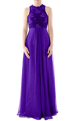 MACloth Women High Neck Long Lace Chiffon Bridesmaid Dress Formal Evening Gown Morado