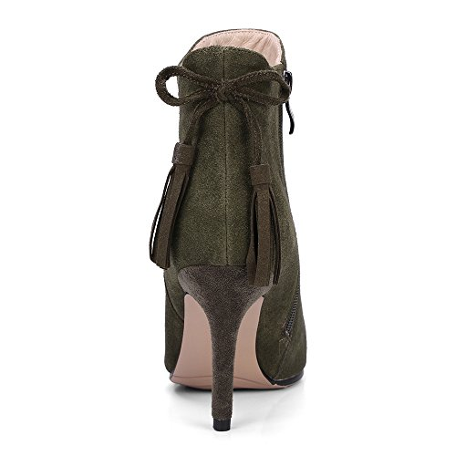 Boots Sexy Handmade Green Heel Suede Nine Classy Leather Toe Women's Pointed Seven Stiletto Army Ankle Wedding zOvOq