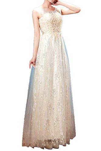 ivyd a amp; Moda champagne Tuell promkleidn pizzo Donna lunghi vestito sera da linea 44 abito Party ressing fnwrYIgqf