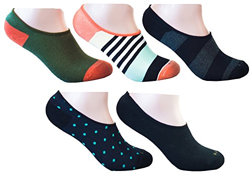 Colorful-No-Show-Socks-by-Related-Garments-5-Pack-Non-Slip-Silicon-Grip-fits-men-size-10-13-Assorted