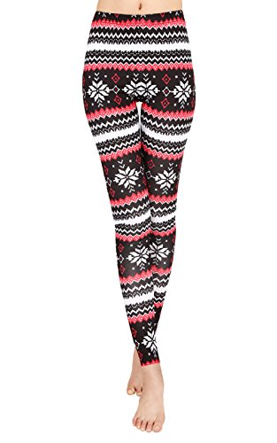- Uaderize Womens Ultra Soft Brushed Christmas Leggings Pants Fair Isle Printed Legging L