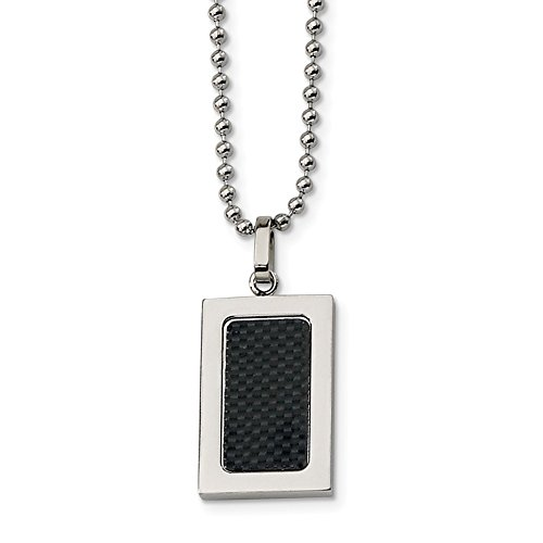 ICE CARATS Stainless Steel Black Carbon Fiber Inlay 22 Inch Chain Necklace Man Pendant Charm Dogtag Fashion Jewelry Gift for Dad Mens for (Best Vnox Bling Jewelry Bling Jewelry Diamond Necklaces)