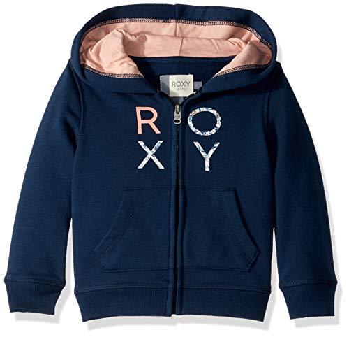 (Roxy Girls' Little Make It Easy Zip-Up Sweatshirt, Dress Blues, 4)