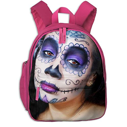 Sugar Skull Halloween Makeup Girls Children School Bag Book Backpack Outdoor Travel Pocket Double Zipper -