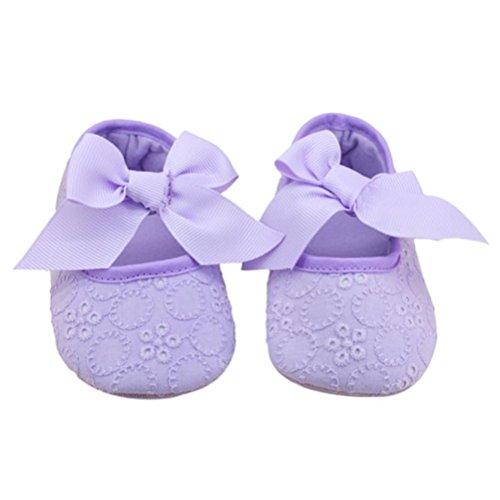 Zapatos de Bebé,Xinantime Algodón Bowknot Suave Prewalker Flor Niñas (17, Púrpura) Púrpura