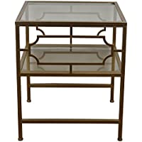 Décor Therapy Gold Accent Table with Glass Shelves, Champagne