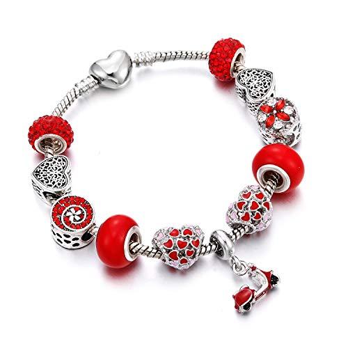 Lishfun Original Leaves Snowflake Net Key Charm Silver Bracelet Fit Fine for Women DIY Red Crystal Glass Beads Bracelets Bangles ()