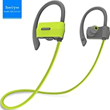 Heiyo Wireless Sport Bluetooth Headphones, In-Ear Fit Earhook Secure IPX4 Sweatproof Earphones with Mic and 7-Hour Playing Time for Running,Gym and Outdoor Sports-Green