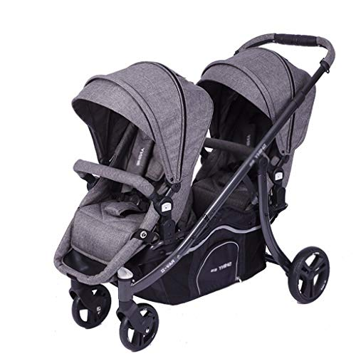 Stroller Zzmop Double, Contours Curve Tandem Double for Infants, Toddlers or Twins – 360° Turning, Multiple Seating Options Polyester Fabric