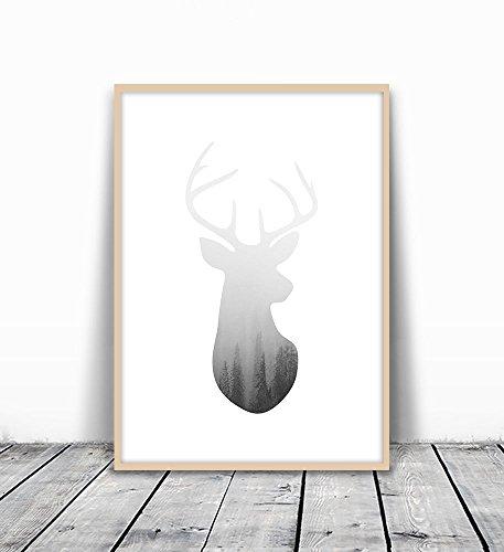 Dear Print, Deer Head Wall Art, Deer Art, Gray Animal Head,