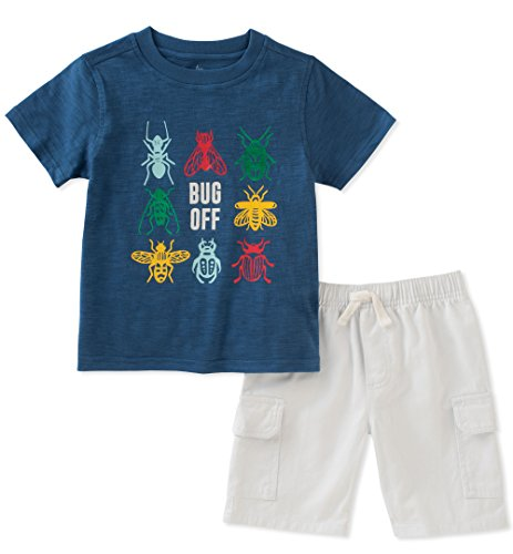 Kids Headquarters Boys' 2 Pieces Short Set, Navy/White, 4T