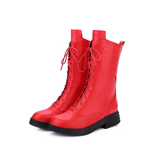 AgooLar Women's Lace-up Low-Heels PU Solid Low-top Boots Red r70c3Ni