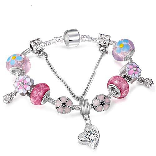 Murano Chain Bracelet - YJFNNSL Vintage Heart Pendant Crystal Murano Glass Bead Charm Bracelet Snake Chain Bracelet Female Jewelry