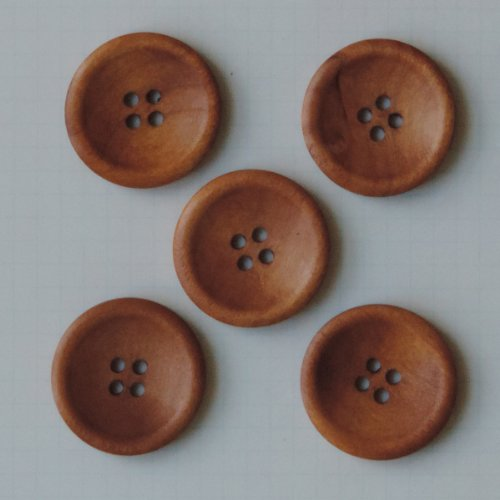 Maya Road Wooden Buttons, 1.25-Inch, Vintage Stained, 5-Pack