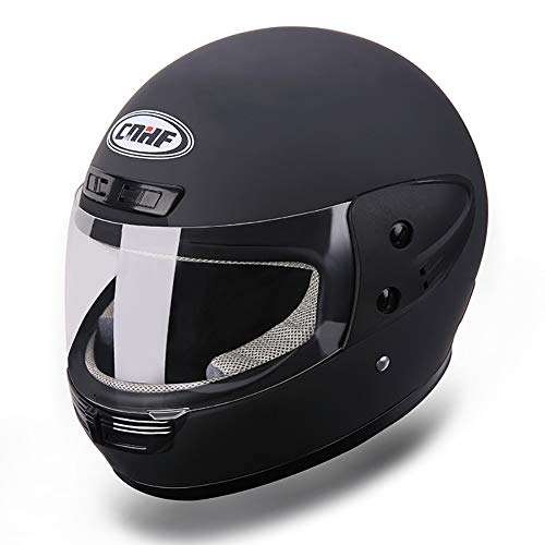 GHF Motocicleta Casco Mantener Caliente Cobertura Completa Casco ABS Casco Completo,Black