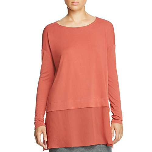 Eileen Fisher Womens Stretch Long Sleeves Tunic Top Red S